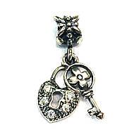 Серебряный подвес Pandora Сердце и ключ