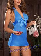 Эротический голубой пеньюар с бантом и стринги +18