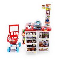 Детский супермаркет с тележкой продуктами и кассой 668-01