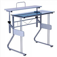 Стол ST-S1223 Синее стекло/Серый МДФ/Серебристый металик 800*560*750/910
