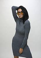 Вязаное платье серое