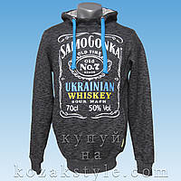 "Модна молодіжна толстовка  ""Samogonka ― ukrainian Whiskey"" (сірий меланж)"