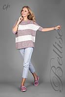 Модный женский вязаный джемпер в полоску