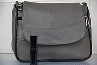 Кожаная сумка цвет серый натуральная кожа
