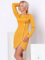 Женское осеннее платье горчичного цвета с длинным рукавом. Модель 949 SL.