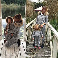 Family Look Парные спортивные костюмы с мехом