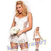 Эротический костюм невесты белый секси sexy фата
