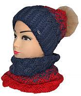Набор шарф-хомут и шапка с балабоном натуральный мех женские, фото 1