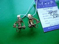 Серьги золотые с фианитами 3.41 грамма  ЗОЛОТО 585 пробы