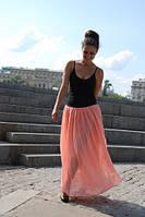 Пудровая шифоновая юбка пудра макси в пол персик