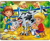 Пазл Larsen из серии Макси Ферма Дети и корова (BM5)