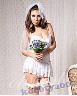 Эротический костюм невесты белый секси sexy фата !