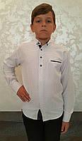 Качественная белая рубашка на мальчиков Синяя крапинка