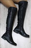 Сапоги зимние Ботфорты кожаные черные