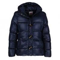 Теплая  осенняя куртка на синтепоне и флисовой подкладке для девочки Glo-story 134-140р. темно-синяя.