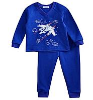 Пижама детская на мальчика синяя с самолетами
