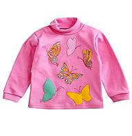 Гольф розовый на девочку с бабочками,  интерлок начес