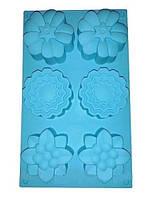 Силиконовая форма для выпечки Цветки 6 штук Empire ЕМ 7168, 30*12*3,5 см