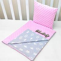 """Набор для коляски плед Minky + подушка,""""Короны"""" розовый"""