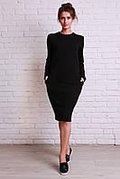 Модное платье черного цвета с карманчиками