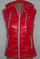 Женская спортивная жилетка  безрукавка на замке 2016 красная