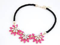 Колье Роскошный цветок розовое/бижутерия/цвет цепочки золото