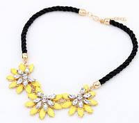 Колье Роскошный цветок желтое/бижутерия/цвет цепочки золото