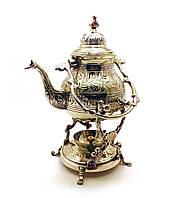 Чайник бронзовый с горелкой на подставке