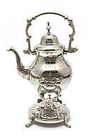 Чайник бронзовый с горелкой на подставке хром