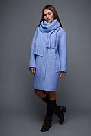 Теплое женское пальто LS-8689 Зима тиффани