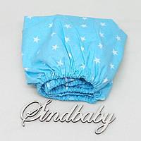 Детская простынь на резинке в кроватку, голубая звездочка 60х120 см