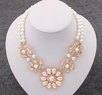 Жемчужное ожерелье с цветком/бижутерия/цвет цепочки золото