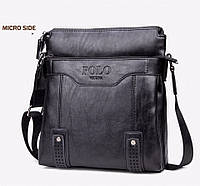 Кожаная мужская сумка-барсетка Polo Vicuna Черная