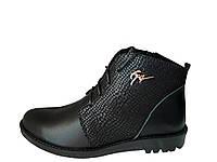 Зимние женские ботинки на низком каблуке чёрные
