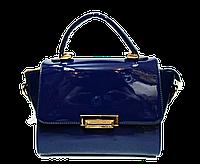 Классическая лаковая женская сумка из качественного кожзаменителя синяя GST-764456
