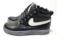 Подростковые кожаные зимние кроссовки черного цвета