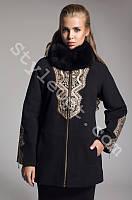 Женское зимнее кашемировое пальто с вышивкой и камнями Сваровски