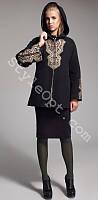 Женское зимнее кашемировое пальто с вышивкой камнями Сваровски с капюшоном