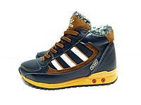 Зимние подростковые кроссовки Adidas сине-рыжего цвета