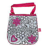 "Творчество и рукоделие «Color Me Mine» (6379148) Міні-сумочка ""Color Me Mine з блискітками. Квіти"", 4 маркери, 19 см, 6+"