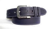 Джинсовый ремень 45 мм синий прошитый двойной белой ниткой пряжка классическая матовая серая Timeland