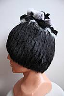 Женская меховая шапка из кролика+чернобурка на трикотажной основе, от производителя, кубанка