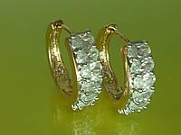 Серьги лучшего качества, с устойчивым  покрытием золота, родия и цирконием. С3.