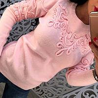 Женский стильный теплый свитер с выкладным узором (3 цвета)