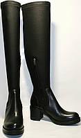 Сапоги осенние женские Rovigo 8090 кожа/стрейч, осенние, черные, на каблуке 6,5 см и толстой подошве, замочек.