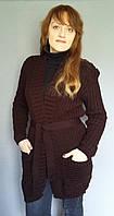 Женский вязаный кардиган с поясом и карманами