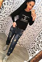 Женский модные джинсы с потертостями