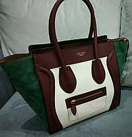 Женская стильная сумочка Celine цвет бордовый с зеленым