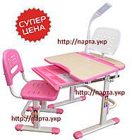 Комплект детская парта и стул, лампа, подставка, розовый