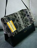 Женская сумочка на плечо Celine под рептилию цвет черный